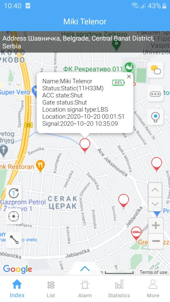 gps tracker lokator aplikacija Yunzhixing